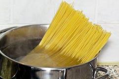 Spaghetti inside a pot Stock Image