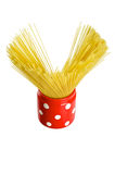 Spaghetti inside a red jar Royalty Free Stock Photo