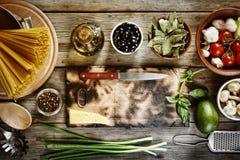 Spaghetti, Italian cuisine, cooking recipe, Italian pasta, ingredients Stock Photo