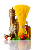 Spaghetti and Italian Cuisine Food on White Background royalty free stock photo