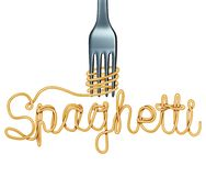 Spaghetti Italian Food Symbol. Spaghetti symbol isolated on a white background as an Italian pasta icon with a fork shaped as text as a 3D illustration Royalty Free Stock Photos