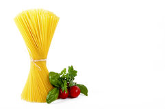 Spaghetti with Italian ingredients Royalty Free Stock Images