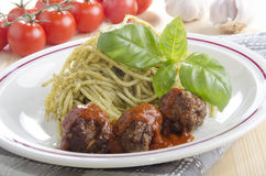 Spaghetti with italian meat balls Stock Image