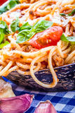 Spaghetti. Italian and Mediterranean cuisine. Royalty Free Stock Photo