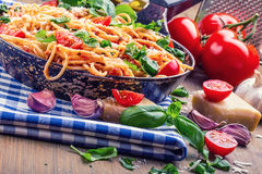 Spaghetti. Italian and Mediterranean cuisine. Spaghetti bolognese with cherry tomato and basil. Stock Photography