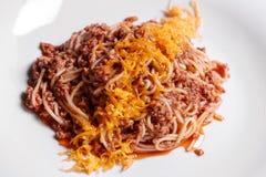 Spaghetti. Italian and Mediterranean cuisine. Spaghetti bolognese with cherry tomato and basil. Stock Photo