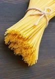 Spaghetti italian pasta on wood Stock Photo