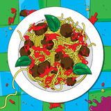 Spaghetti italiani illustrazione di stock