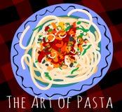 Spaghetti italiani saporiti della pasta con salsa al pomodoro rossa piccante su un piatto blu Fotografia Stock