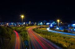 Spaghetti junction at night. Long exposure looking down on motorways in Aucklands spaghetti junction Stock Images