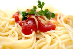 Spaghetti with ketchup Royalty Free Stock Photo