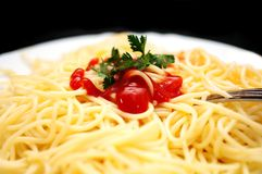 Spaghetti with ketchup Stock Images
