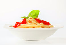 Spaghetti with ketchup Royalty Free Stock Images