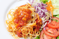 Spaghetti Ketchup food. The Spaghetti a Ketchup food Stock Photos