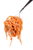 Spaghetti with ketchup on fork close up Stock Image