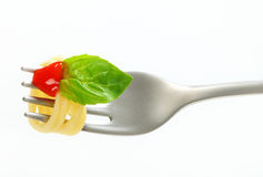 Spaghetti with ketchup on fork Royalty Free Stock Images