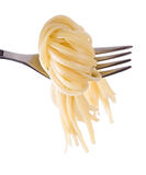Spaghetti knot on fork Royalty Free Stock Photos