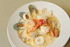 Spaghetti Kremowego kumberlandu owoce morza Obraz Royalty Free