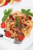 Spaghetti a la puttanesca Stock Image