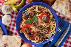 Spaghetti a la puttanesca Royalty Free Stock Images