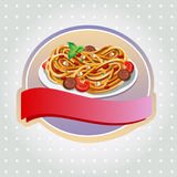 Spaghetti label. One plate of full spaghetti or pasta with tomato, meatball, and sauce Stock Images