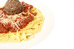 Spaghetti with large meatball Royalty Free Stock Photography