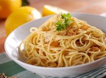 Spaghetti with lemon Royalty Free Stock Photos