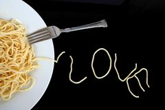 Spaghetti with love. Written in pasta stock photo