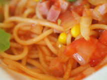 Spaghetti. Is made of semolina or flour and water Royalty Free Stock Photos