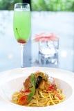 Spaghetti with Mantis shrimp Royalty Free Stock Photography