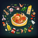 Spaghetti Marinara dish royalty free illustration