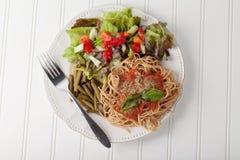 Spaghetti With Marinara Sauce above shot Stock Photos