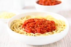 Spaghetti with Marinara Tomato Sauce Stock Photos