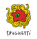 Spaghetti. Meal, simple illustration, isolated Stock Image