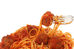 Spaghetti and meat balls Stock Photos