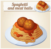 Spaghetti and meat balls. Detailed vector icon vector illustration