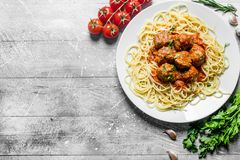 Spaghetti and meat balls with parsley and tomatoes royalty free stock image