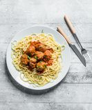 Spaghetti and meat balls on a plate royalty free stock image
