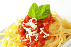 Spaghetti with meat-based tomato sauce Stock Images