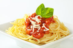 Spaghetti with meat-based tomato sauce Stock Image