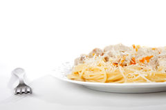 Spaghetti with meat and carrrot on dish isolated Royalty Free Stock Photo
