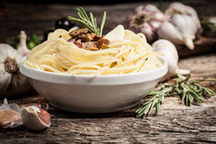 Spaghetti with meat and garlic. Organic food Stock Photo