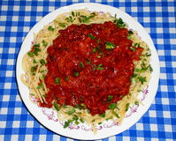 Spaghetti with meat, ketchup and pieces of lovage levisticum Royalty Free Stock Image