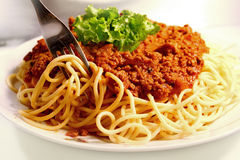 Spaghetti and meat sauce Royalty Free Stock Images