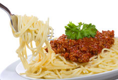 Spaghetti with meat sauce Stock Photo