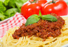 Spaghetti with meat sauce Stock Photos