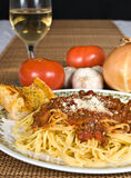 Spaghetti & Meat Sauce. Spaghetti with meat sauce on a plate royalty free stock image