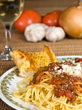 Spaghetti & Meat Sauce. Spaghetti with meat sauce on a plate royalty free stock photography