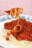 Spaghetti and meat sauce on a fork Stock Photography
