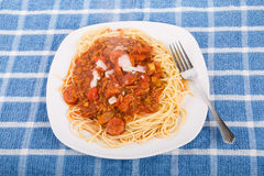 Spaghetti with meat and sausage Royalty Free Stock Photo